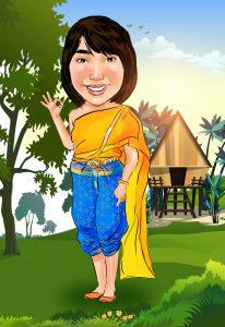 รับวาดภาพการตูนชุดไทย