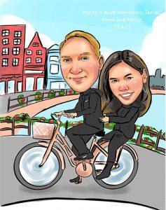 ภาพการ์ตูนล้อเลียนปั่นจักรยาน