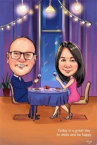 วาดภาพการ์ตูนล้อเลียนคู่รักในร้านอาหาร